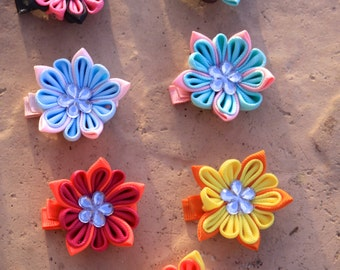 Frilly Flower Clips- Choose your Color!