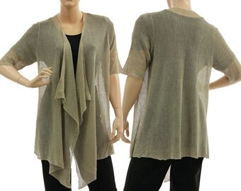 Boho knitted linen sweater cardi in natural, linen knit sweater wrap, lagenlook linen sweater small to large size women S-L, US size 8-14/16