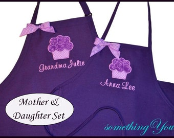 Childrens Purple Swirls Cupcake Apron - CHILDS APRON ONLY - Personalized name apron for girls