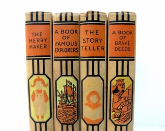 Vintage Young Folks Library / Book Decor / Decorative Books / Book Bundle / Instant Library / Home Decor / Childrens Room Decor/Old Books