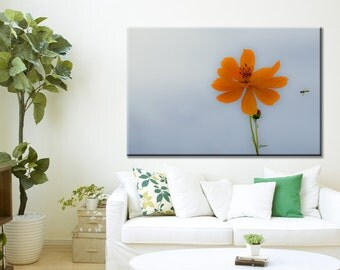 Large Wall Art Minimalist Orange Flower Floral Gallery Wrap Canvas - Fine Art Photograph Print Picture Panoramic