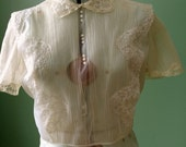 Vintage 40's Sheer Back-Buttoned Paulwin Blouse with Pearl Buttons and Lace