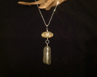 "Cape Cod beach stone and sterling silver pendants on sterling silver chain.   16 or 18"" chain."
