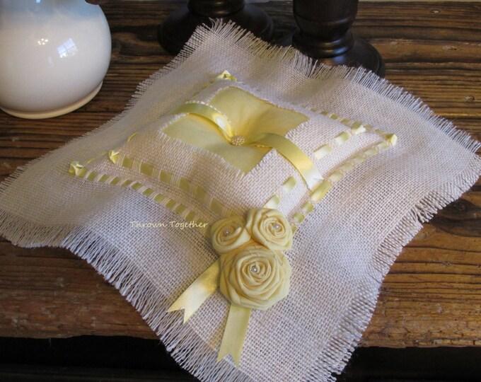 Ring Pillow, Wedding, Yellow White Wedding Rustic Wedding, White Burlap Ring Pillow, Burlap & Yellow Wedding, Wedding Ring Holder