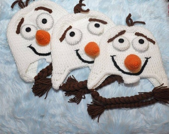"""Crochet Olaf """"Frozen"""" Hat  Newborn-5Yrs MADE TO ORDER Photography Prop"""