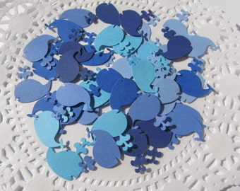 Mixed Blue Whale Die Cuts - Scrapbooking Embellishments - Confetti - Cardstock- Set of 50-100 or 200