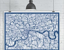 London Typography Map Print - Custom London Neighbourhood Map with Landmarks, Various Colors, Type Map Art Print Poster