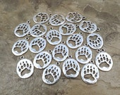 20 Silver Plated Pewter Bear Paw Charms - 5161