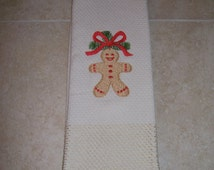 Kitchen Towel with Gingerbread  Embroidery, Christmas Holiday gift