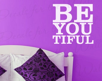Beautiful Be You Tiful Love Mirror Wall Decal Lettering Art Vinyl Quote Sticker  Decor Saying A11