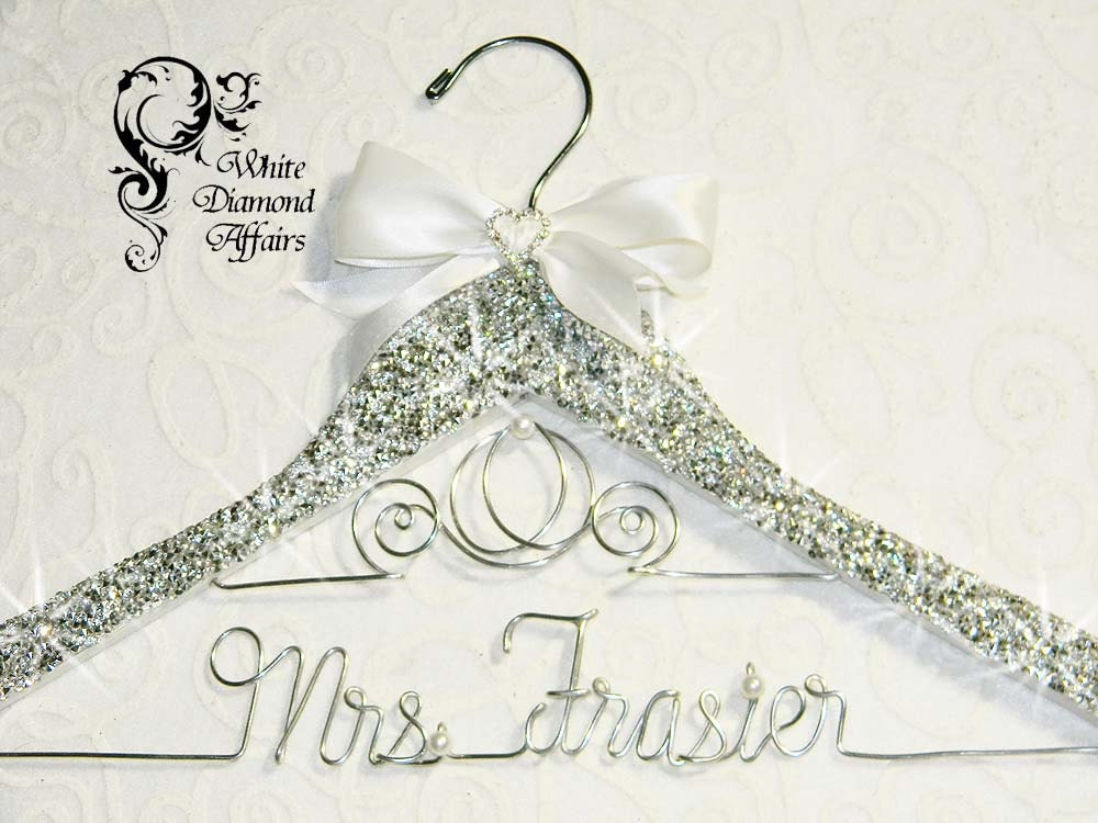 Bling wedding dress hanger personalized by whitediamondaffairs for Personalised wedding dress hanger