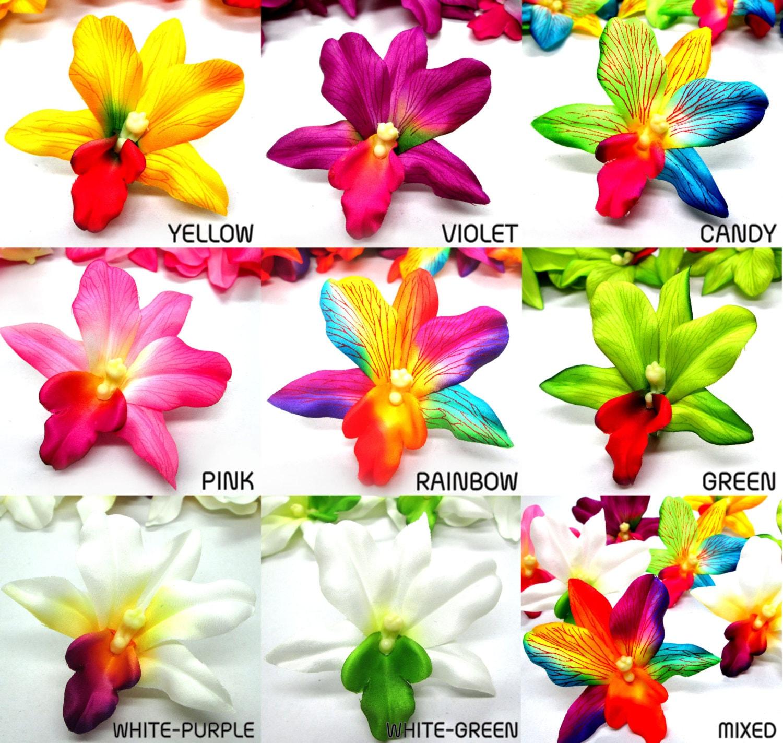 12 Hawaiian Cattleya Vanda Heads Artificial Silk Flower