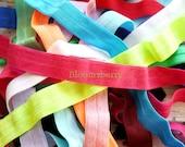 "Grab A Bag - 5/8"" Plain Elastic Fold Over -Random Grab a Bag - Assorted Colors - Fold Over Elastic - Hair Accessories Supplies"