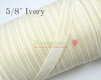 """5/8"""" Fold Over Elastic - Ivory Color- Ivory Fold Over Elastic - Ivoory Elastic - Plain Fold Over Elastic - Hair Accessories Supplies"""