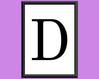 Typography DIGITAL PRINT Monogram Initial Wall Art Century Letter D 5x7