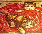 English Cats on Rose Cat Fabric Retired Out of Print 12 x 22