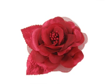Red Flower Hair Clip, Rose Hair Clip, Pinup Hair Flower, Flower Hairclip, Red Hair Accessory, Christmas, Valentine