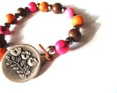 Organic Beaded Bracelet, Multi-Color Organic Bracelet, Flower Button Clasp, Eco-Friendly Jewelry, Vegetarian Gifts, Vegan Gifts