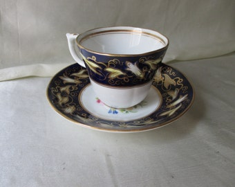 Antique Coalport Hand Painted Tea Cup/Saucer,Colbalt Blue Band with Gilt Vine, Interior Floral Motif, Gold Trim. Housewarming Gift