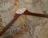 SALE -  FREE Shoe Decals - Rhinestone Wedding Dress Hanger, Gatsby, Vintage, Wedding, Bride Hanger, High Quality, Wedding Gift