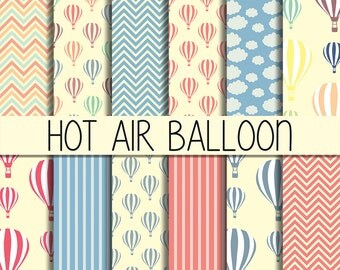 Hot Air Balloons - Instant Download - Digital Paper Pack - Set of 12 Digital Scrapbook Paper - 12 x 12 inches