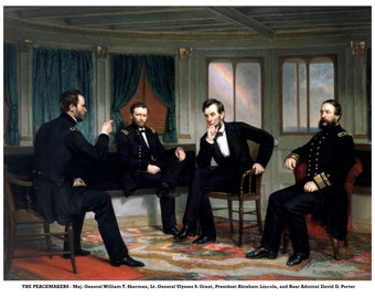 The Peacemakers Civil War Portrait President Abraham Lincoln Generals William Sherman, Ulysses Grant, Admiral David Porter
