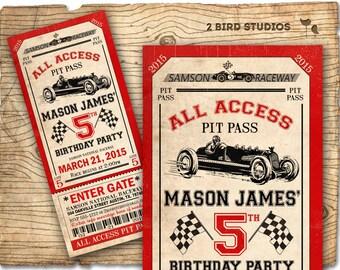 Race car birthday invitation - Race car party ticket invitation - Racecar birthday party invitation - Vintage race cars invite - YOU print