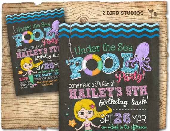 Under the sea birthday pool party invitation Mermaid under the sea