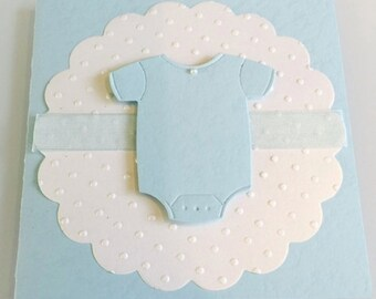 Customize Any Color, 10 Onesie Baby Shower Invitation, Thank You, or New Baby Announcement Cards, Baby Blue Boy