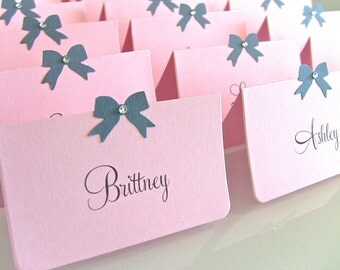 Customize Any Color, Set of 10 Baby Shower Place Cards, Wedding Place Cards, Party Escort Cards, Bow and Gem or Pearl