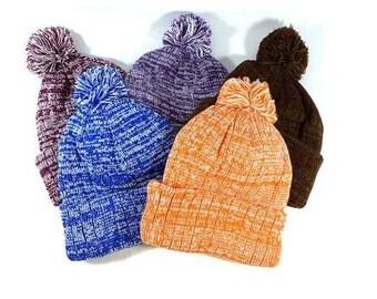 Custom Embroidery Knit Hat White & Soft Pom Pom Beanie Brown Purple Burgundy Blue Orange