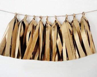 GOLD tassel garland, tissue tassel garland, tissue garland antique gold, wedding decor, shower decor, birthday party decor