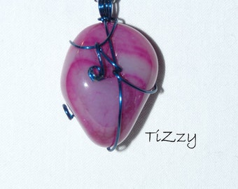 Pink Agate w/ Blue Wire Wrapped Pendant