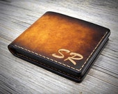 02 Engraved Wallet Gift / Personalized Leather Wallet / Genuine Italian Leather Bifold Wallet / Monogrammed Leather Men's Wallet