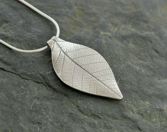 Silver Leaf Skeleton Pendant    PMC Fine Silver Clay Leaf Necklace     Handmade Recycled Silver Jewellery