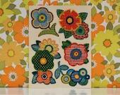 Vintage Retro Kitsch Orange Floral Decals Waterslide Transfers Hippy Flowers