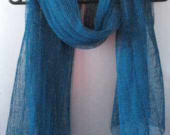 Linen Scarf Shawl Wrap Stole Blue Green Light, Transparent SALE