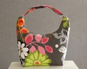 Large Insulated Lunch Bag, Large Women Lunch Bag, Large Work Lunch Tote,Large Lunch Bag,Reusable Lunch Bag, Flower Bouquet on Charcoal Gray