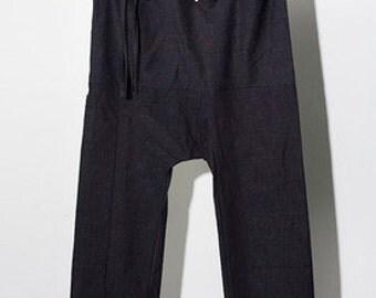 wide linen pants in blue or lila