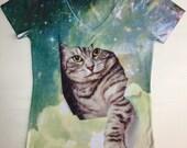 woman cat in galaxy print top, t shirt, tank and box (148)xxs - plus size