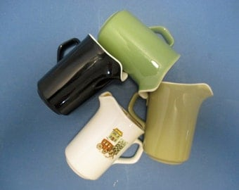 Taylor Smith Taylor Vintage Taylorstone Creamers: Tan, Black, Brown Speckled, Cape Cod (3), Green (3)  (9 Available)
