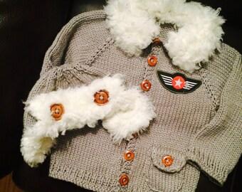 Baby aviator HAT ONLY knitting pattern earwarmer PDF