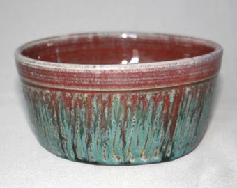 Purple Red Teal and Green Drips Ceramic Bowl, Unique Clay Serving Bowl, Pasta Soup Cereal Bowl, Modern Kitchen Home Decor