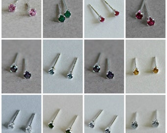 2mm Stud Earrings Set - Tiny Studs Birthstone Colors Small Studs Create Your Own Set
