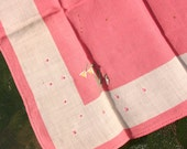 Vintage White & Pink Cotton Handkerchief with Embroidered Daffodils and Dots - Wedding