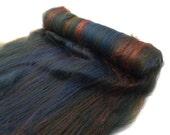Spinning batts - Merino - Silk - Green - Olive - Blue - 100g / 3.5 oz  BLUE CYPRESS