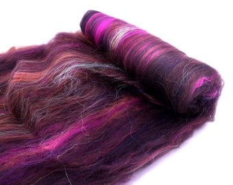 Spinning batt - Merino wool - Firestar - Silk - 100g - 3.5oz - PATCHOULI