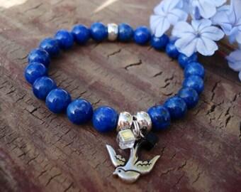 Denim Lapis Bracelet, Bird Bracelet, Silver Charm Bracelet, Beaded Bracelet, Gemstone Bracelet, Stretch Bracelet, Bird Jewelry, Cottage Chic