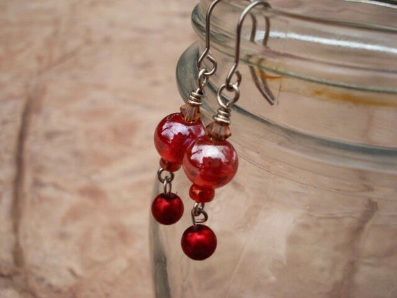 Red Glass Earrings, Red Pearl Charm Earrings, Statement Earrings, Beaded Earrings, Dangle Earrings, Drop Earrings, Boho Earrings