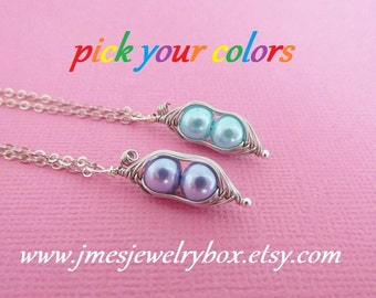 Two peas in a pod best friend necklace set - Choose your colors! Made to order